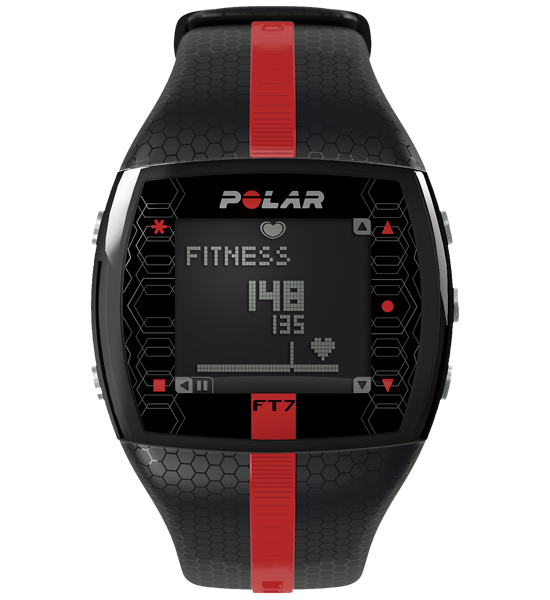 Polar FT7 Fitness Watch with Heart Rate Monitor - Black / Red
